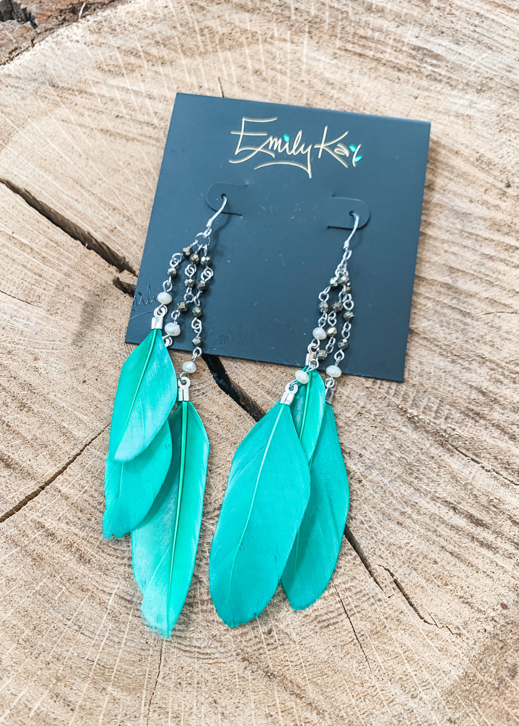 Feather Earrings by Emily Kai Kelly Green - Lois Pearl Boutique