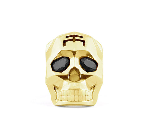Gold Skull Faceted Ring