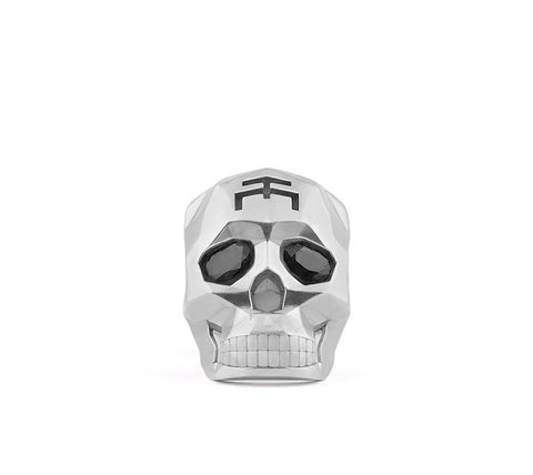 Small Silver Skull Faceted Ring