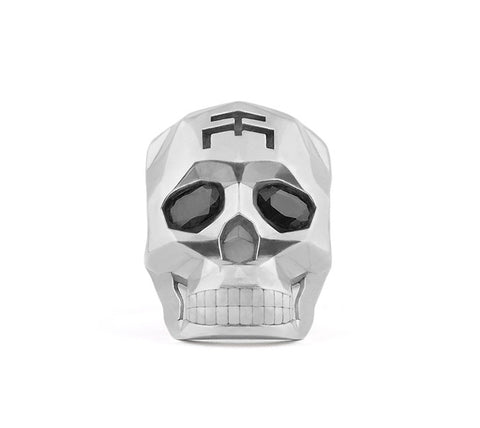 Silver Skull Faceted Ring