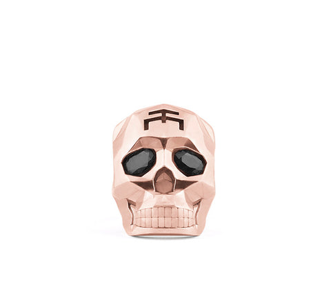 Small Rose Gold Skull Faceted Ring