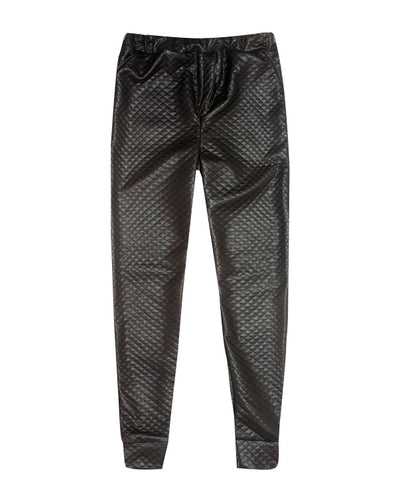 Fake leather quilted matelasse pants