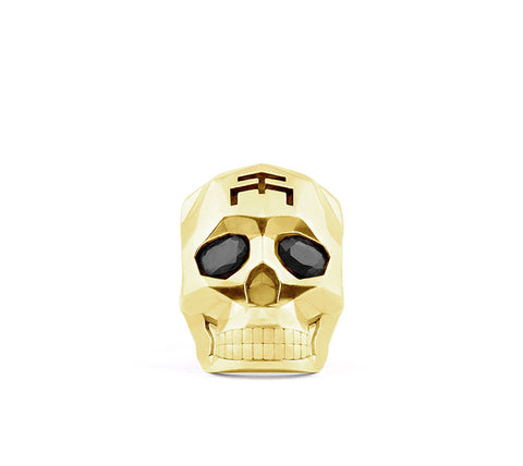 Small Gold Skull Faceted Ring