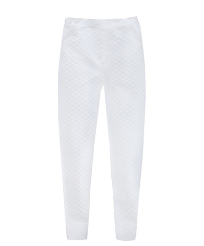 White quilted matelasse pants