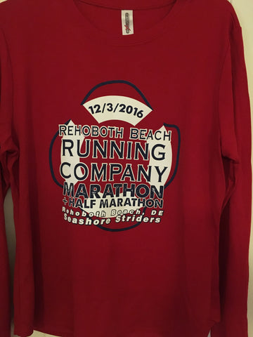 2016 Rehoboth Marathon race shirt (red long sleeve)