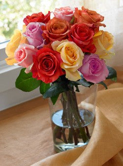 One Dozen Rainbow Rose Bouquet