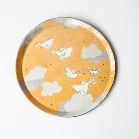 White Doves, large orange wall plate