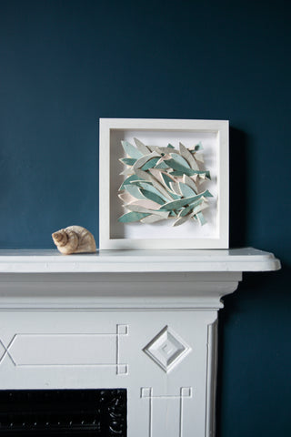 School of Fish, dark pastel, sculptural wall tile