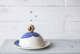 Bee Butter Dish in Blue