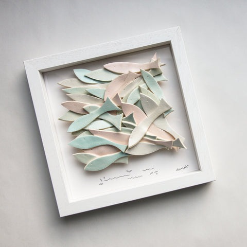 School of Fish, soft pastel, sculptural wall tile
