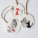 'Little Red Riding Hood' illustrated ornament set, ready to ship
