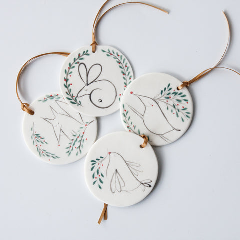 'Forest animal' disc ornaments, ready to ship
