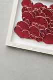 LOVE HEARTs, framed artwork tile, red glaze