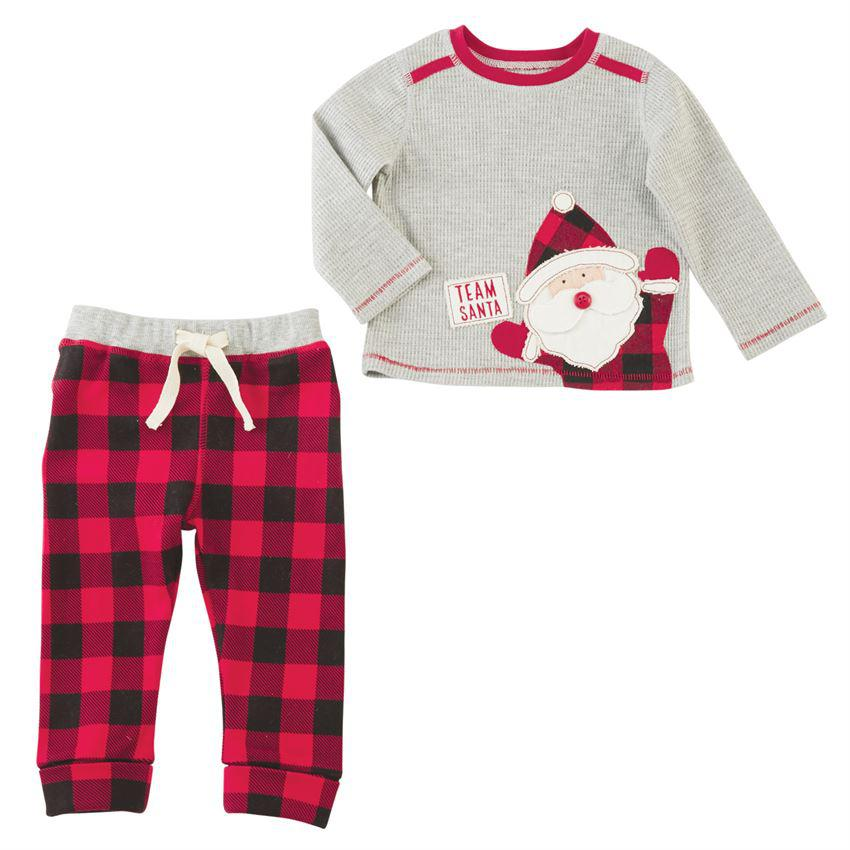 Mud Pie Team Santa Buffalo Check Two-Piece Set