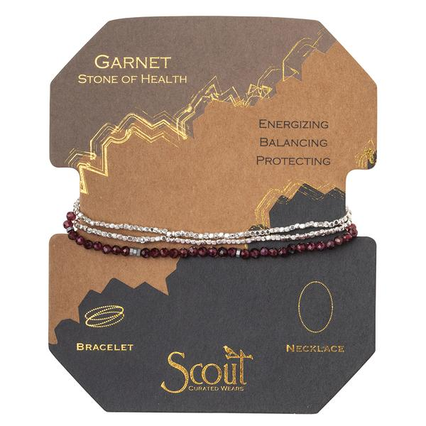 Scout Curated Wears Delicate Stone Wrap Bracelet/Necklace - Garnet