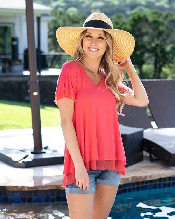 Grace & Lace Tiered Mesh Tee - Solids