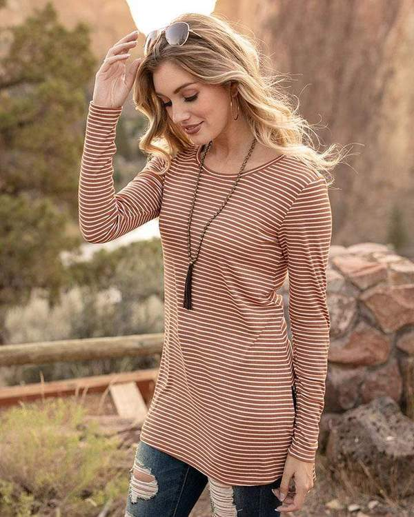 Grace & Lace Ribbed Long Sleeve Tunic Tee