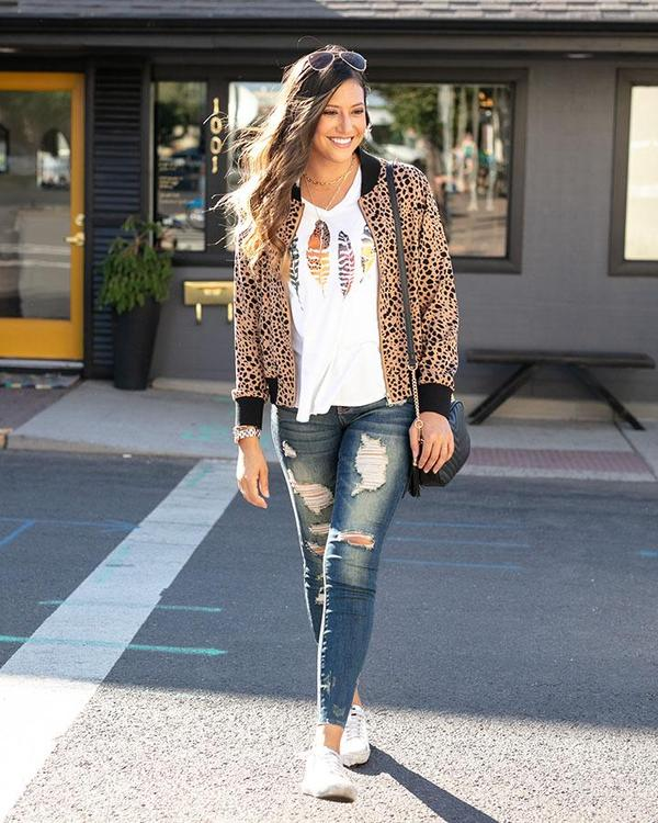 Grace & Lace Cheetah Dot Bomber Jacket
