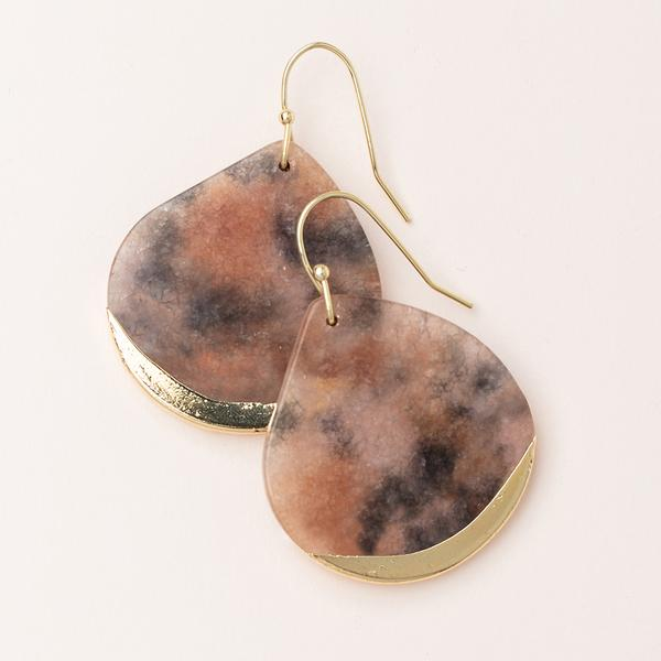 Scout Curated Wears Stone Dipped Teardrop Earring - Pink Agate