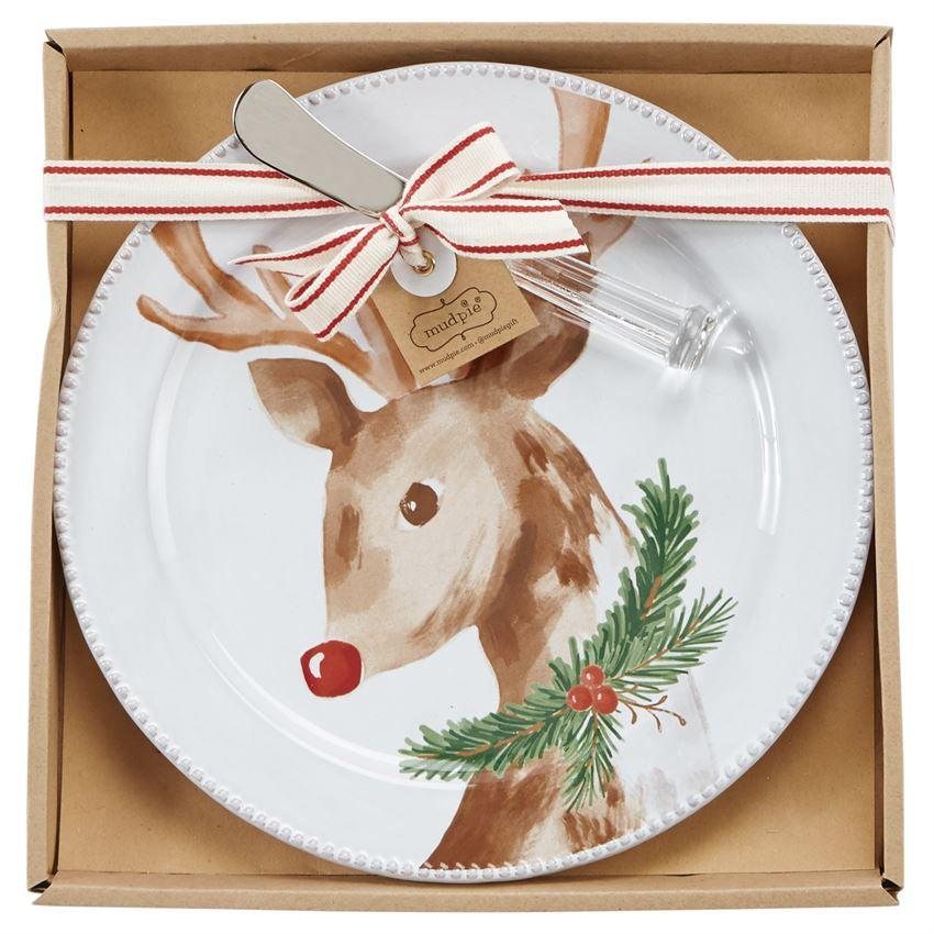 Mud Pie Ceramic Reindeer Cheese Plate Set