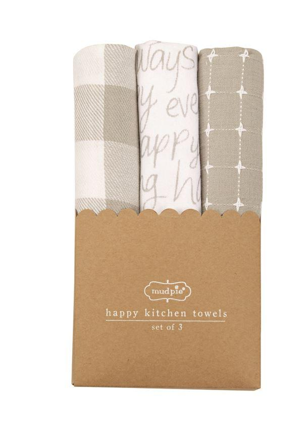 Mud Pie Happy Dish Towel Set