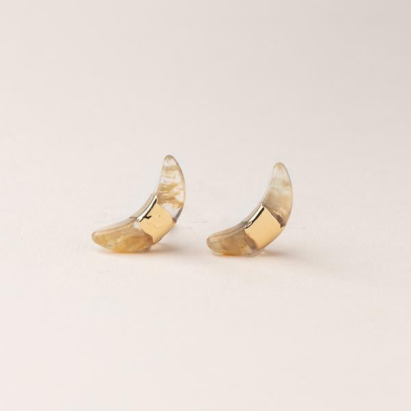 Scout Curated Wears Crescent Moon Stud Earring - Citrine