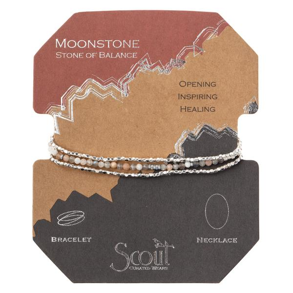Scout Curated Wears Delicate Stone Wrap Bracelet/Necklace - Moonstone