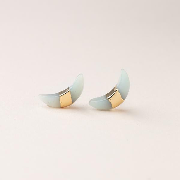 Scout Curated Wears Crescent Moon Stud Earring - Amazonite