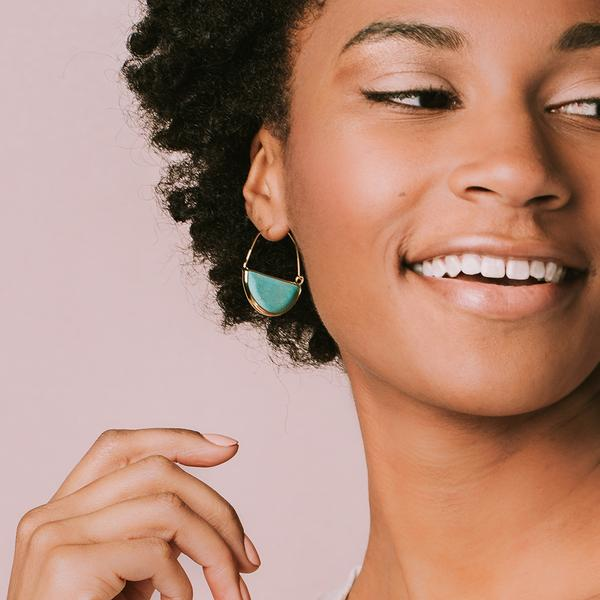 Scout Curated Wears Stone Prism Hoop Earring - Lapis