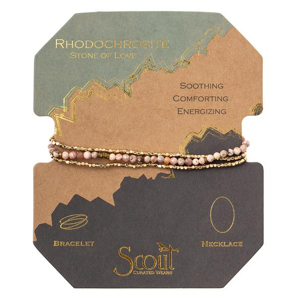 Scout Curated Wears Delicate Stone Wrap Bracelet/Necklace - Rhodochrosite