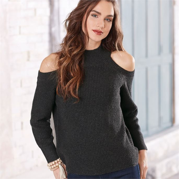 Mud Pie Madden Cold-Shoulder Sweater - Charcoal