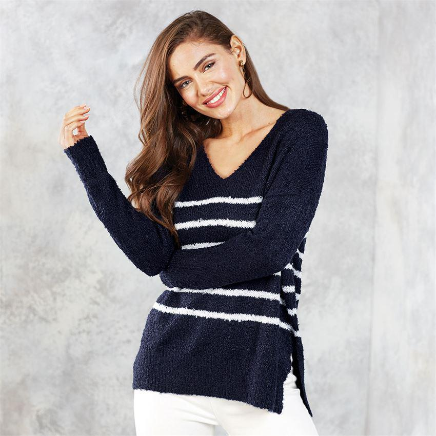 Mud Pie Casper Boucle Striped Sweater