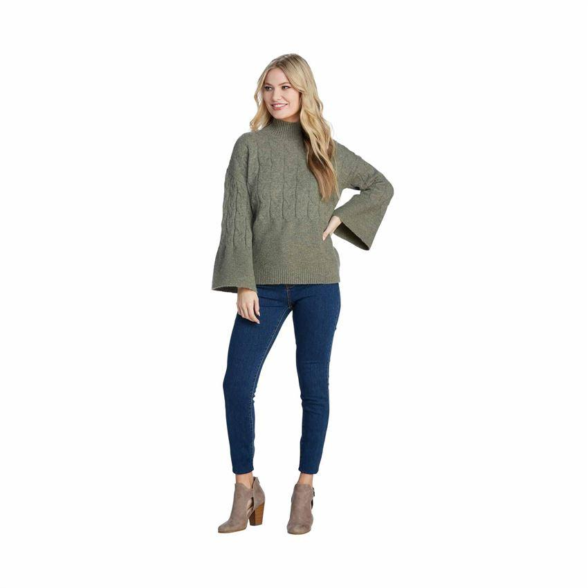 Mud Pie Eve Cable Knit Sweater - Sage