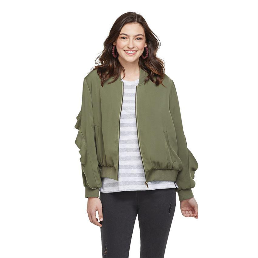 Mud Pie Nolan Ruffle Sleeve Bomber Jacket