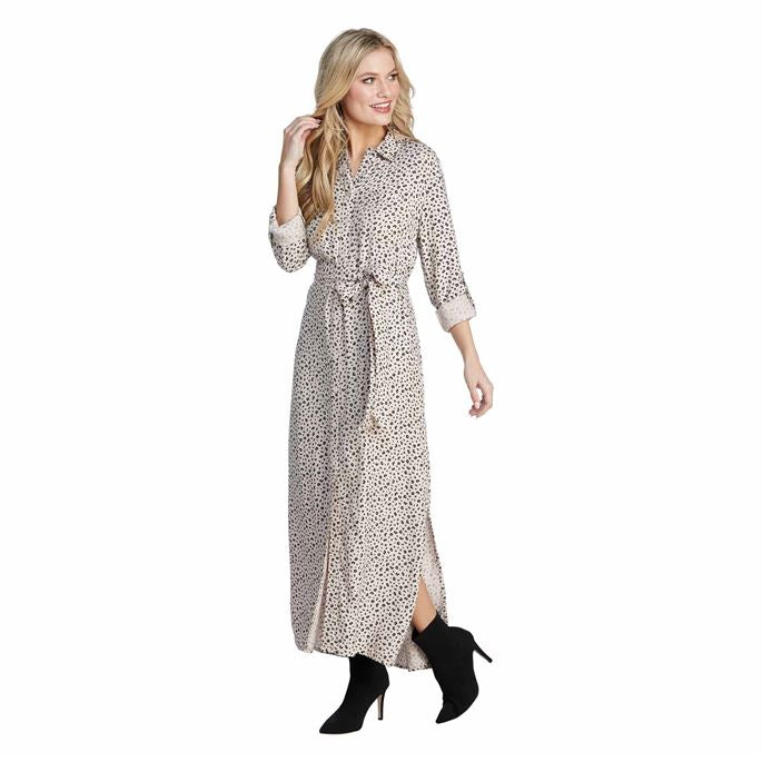 Mud Pie Mel Button-Down Midi Dress - Leopard
