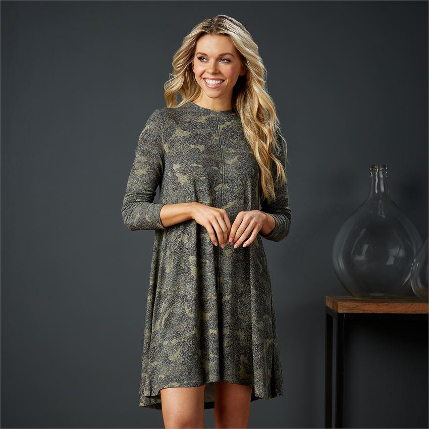 Mud Pie Jillie Long Sleeve Dress - Camo