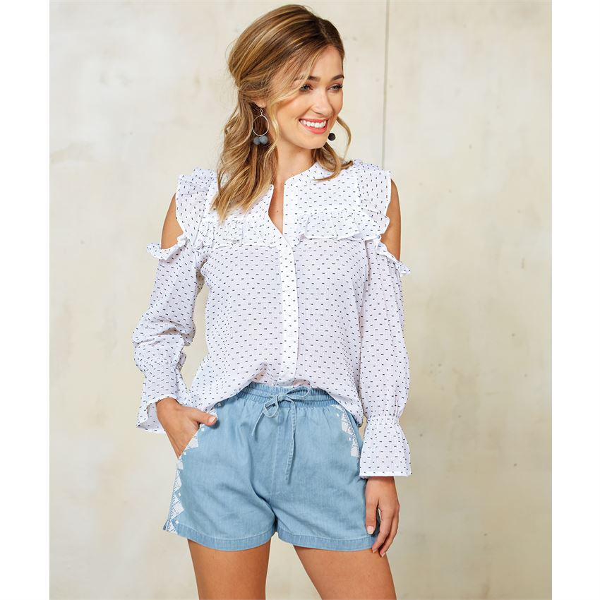 Mud Pie Clarissa Cold Shoulder Button Down Top