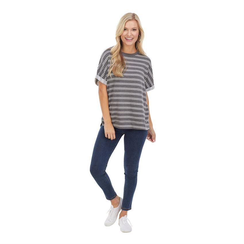 Mud Pie Dixon Cuffed T-Shirt - Gray Stripe