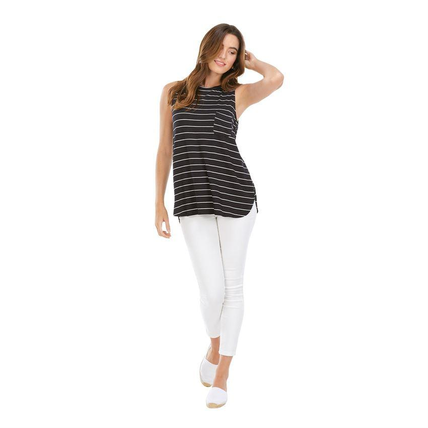Mud Pie Cason Tank - Black Stripe