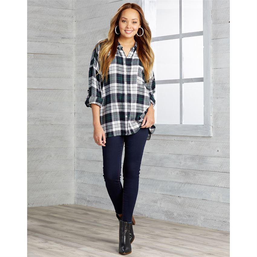 Mud Pie Collier Flannel Button Down - Navy
