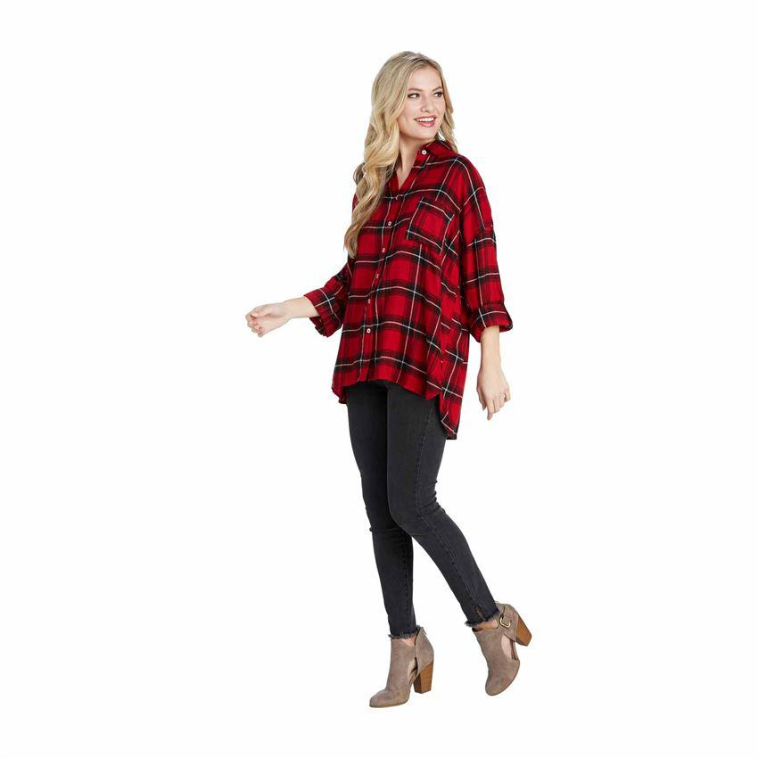 Mud Pie Collier Flannel Button Down - Red