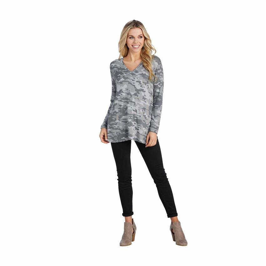 Mud Pie Erin Long Sleeve T-Shirt - Gray Camo