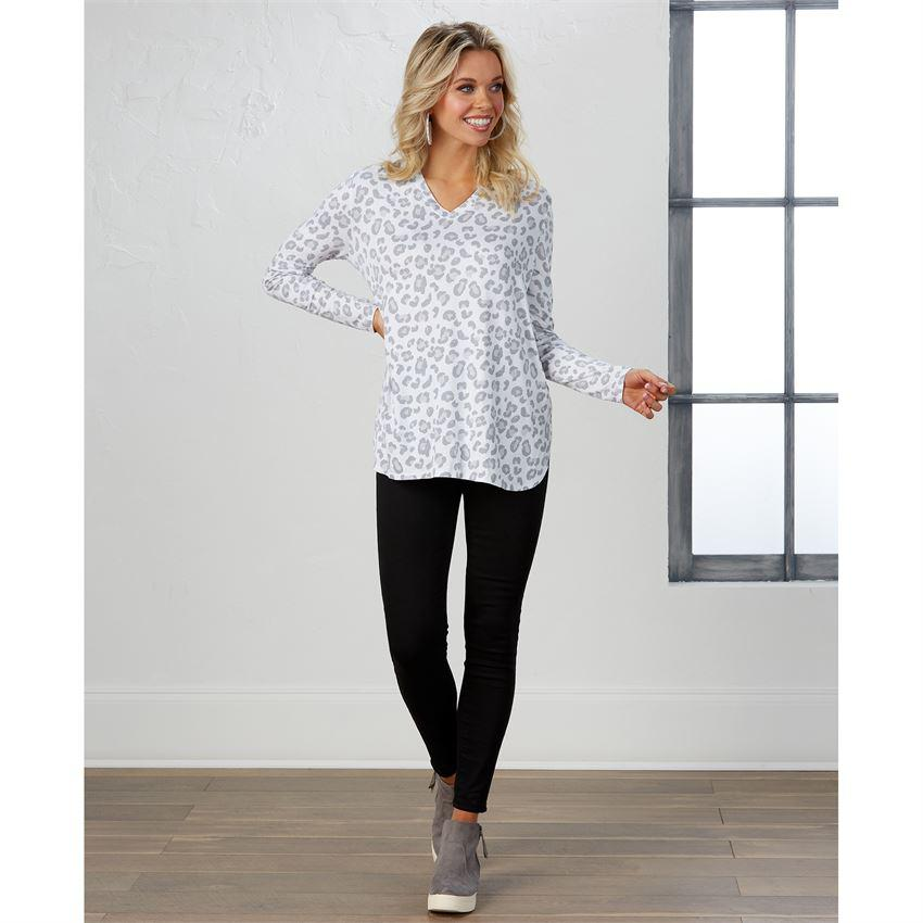 Mud Pie Erin Long Sleeve T-Shirt - Snow Leopard