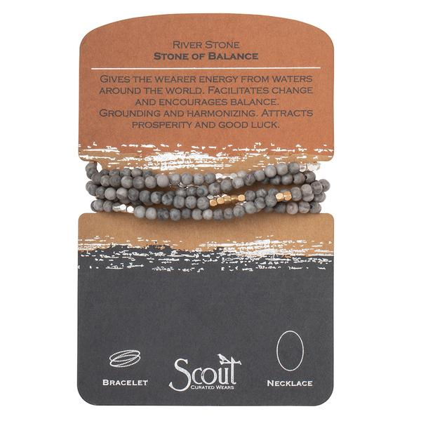 Scout Curated Wears Stone Wrap Bracelet/Necklace - River Stone