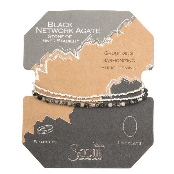 Scout Curated Wears Delicate Stone Wrap Bracelet/Necklace - Black Network Agate
