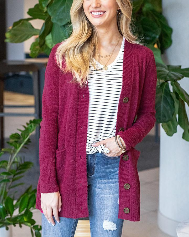 Grace & Lace Bambu Button Cardi - Raspberry