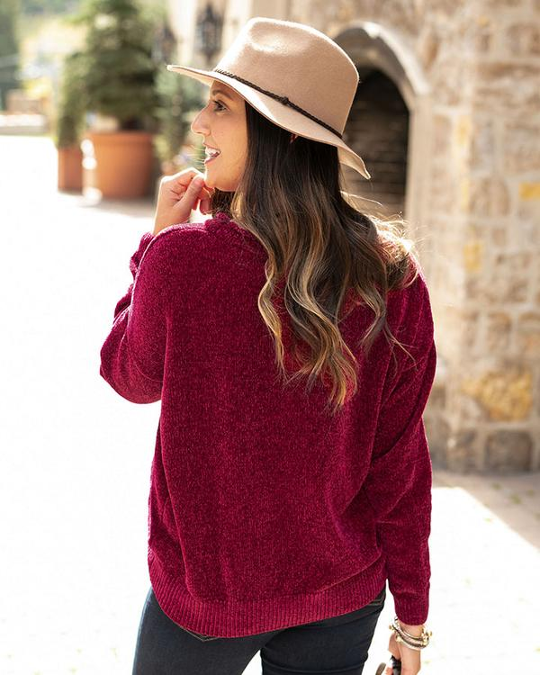 Grace & Lace Chenille Popover Sweater