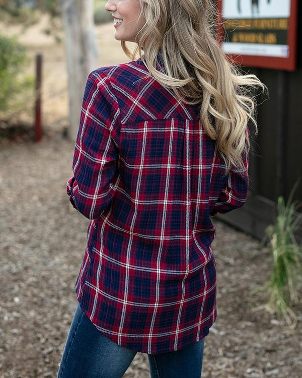 Grace & Lace Favorite Button Up Plaid - Wine/Navy