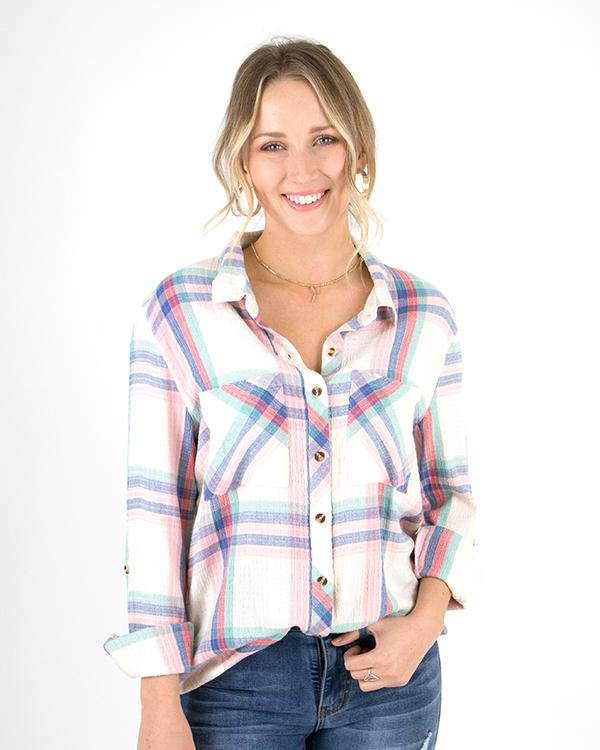 Grace & Lace Favorite Button Up Plaid - Spring Days
