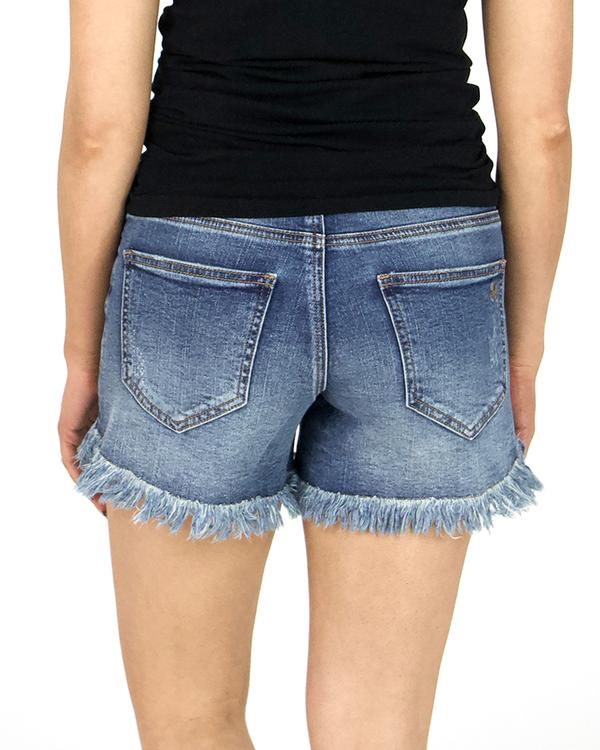 Grace & Lace Girlfriend Button Fly Shorts - Dark Mid Wash